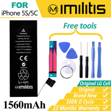 100% Original Imilitis Replacement Battery for iphone 5S Mobile Phone Batteries for iPhone 5C Bateria 1560mAh With Tools