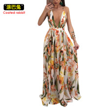 Buy CR Chiffon Sexy Dress Women 2018 Deep V Floral Printed Backless Summer Dress Plus Size Boho Beach Maxi Dresses Robe for $16.97 in AliExpress store