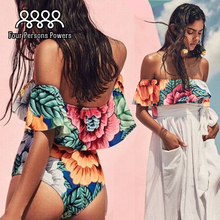 One piece swimsuit wear bikini Sexy Off Shoulder Bodysuit Lacework Vintage Printing swimwear women one piece Bikinis NK49