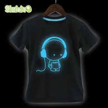 SLAIXIU Cotton Luminous Kids T-shirt for Summer Cartoon Pattern Boys Girls Noctilucent Tees Tops for Children's T shirt Clothing
