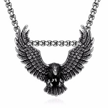 Top quality 316l stainless steel eagle pendant necklace biker jewellery mens fashion animal jewelry 2017 wholesale free shipping(China)