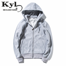 Zipper Mens Sweatshirts Hoodies 2017 New Grey Blue Black Quality Hip Hop Mantle Fashion Jacket Long Sleeve Man's Coat Outwear(China)