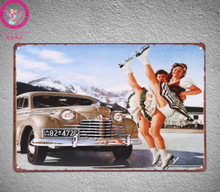 30X20CM Pin Up With Car Vintage Home Decor Tin Sign Wall Decor  Metal Sign Vintage  Art Poster Retro Plaque\Plate