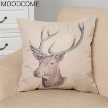 cushion cover The spot color is soft and comfortable pillow covers export cotton pillow (deer head(China)
