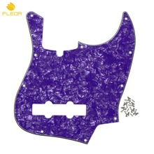 FLEOR 4Ply 10 Holes Bass Guitar Pickguard Scratch Plate with Truss Rod Notch & Screws For FD JB Bass Parts ,Purple Pearl