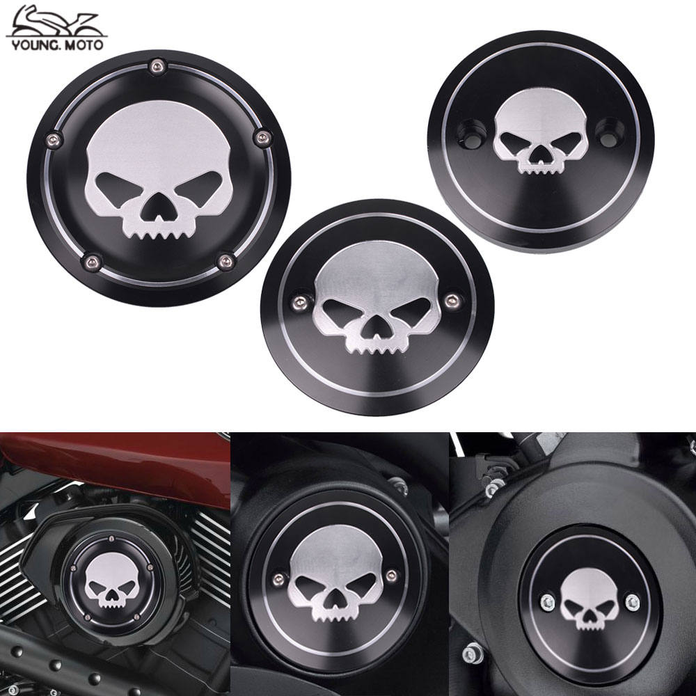 Black Motorcycle Skull Engine Side Cover Timing Cover Derby Air Cleaner Cover Timer Cover For Harley Street XG500 750 2015-2017<br>