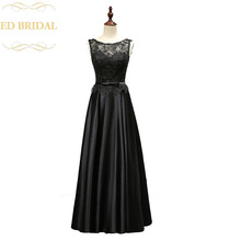 Real Sample Photo Cheap Evening Party Dresses Venice Lace Peplum Satin Black Long Formal Evening Gown robe de soiree