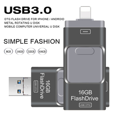 USB Flash Drive 3.0 OTG for Iphone 5/5s/5c/6/6 Plus/7/ipad/Android Pendrive USB Stick Mini USB Flash Metal 64GB 32GB USB Flash