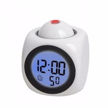 LED Projection Clock Colorful Projection Alarm Voice Clock Digital Time Temperature Display White Colors Drop Shipping(China)