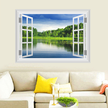 3d window nature tree water blue sky wall stickers home decor living room bedroom pvc wall decals diy mural art posters(China)