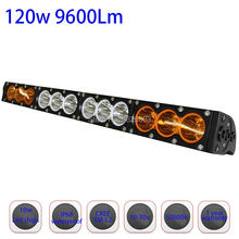 120w 22inch Dual Row White Amber Single Staright Row Led Driving Led Bar with Cree 10W High Light Output for Offroad Truck Auto