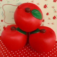 $10 free shipping 8cm cute red apple squishy simulation Fruit kawaii slow rising squishies bun handbag keys cell phone charm