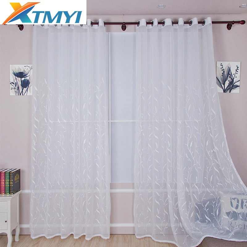White embroidered curtains for Living Room Sheer Curtains For Window Bedroom Lace Curtains Fabrics Drapes
