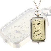 Steampunk Pocket Watch Dual Double Time Zone Movement Necklace Chain Clock Rectangle Dial Vintage Quartz Watches  LL@17