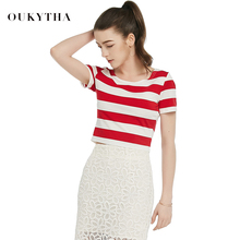 Oukytha 2017 Summer Fashion Sexy Club shirt O-Neck Cotton Stripe Slim Short Tops Sexy Navel Red and White stripe T shirt S16147(China)