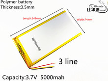 3 line Free shipping Polymer lithium batteries 3.7V 5000mAh 3574149 For Onda Rechargeable Li-ion Cell 7 inch 8 inch 9inch(China)