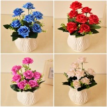Silk rose artificial flower and china white vase set home garden tabletop party wedding decorations blue red fake plastic flower