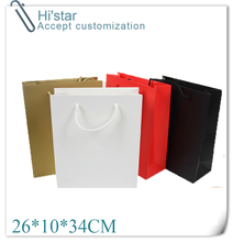 26*10*34CM 10pcs Art Paper Hand Length Handle custom personalized clothes shoes shopping paper bag(China)