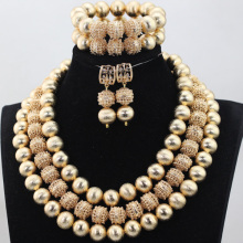 2017 Fashion Necklace African Beads Jewelry Set Nigerian Wedding Inspired Costume Jewellery Set Free Shipping ABH291