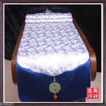 200*33cm Noble Chinese Handmade Vintage Blue and White Table Runner Cloth& Bed Flag With Jade Charm