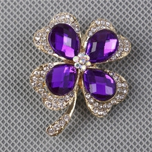 RONGQING 1pcs/lot Crystal Lucky Clover Brooch Pins Jewelry for Women Scarf Pin Brooch
