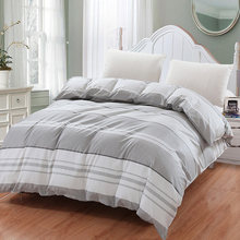 Simple style blue white gray Plaid Bedding Duvet Cover 100% Cotton print twin King Queen size Plaid for New Fashion Home double(China)