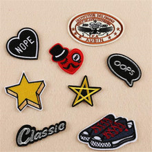 Hot sale embroidery flower patches for clothing classic/oops/nope/star logo sticker iron on patch for clothes free shipping