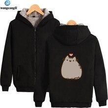 fb98054806f 2018 Pusheen Lazy Cat Winter Thickening Warm Hoodies Women Men Fleece Hoodie  Sweatshirt Fashion Jacket Coat Plus Size
