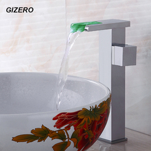 Bathroom Countertop Faucet Basin Mixer Taps Temperature Control 3 Color LED Mixer Solid Brass Water Power Waterfall Taps ZR674