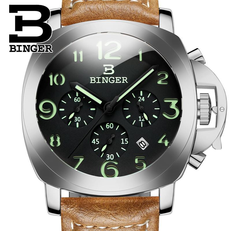 2017 Switzerland luxury Mens watch BINGER brand quartz Wristwatches multifunctional military Stop glowwatch Diver clock B9015-2<br>