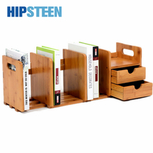 HIPSTEEN Durable Bamboo Tabletop Bookshelf Extensile Office Books Organizer Storage Shelf with Drawer - Wood Color