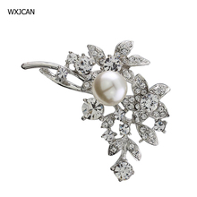 WXJCAN Tree branch and five star simulated pearl brooches for women Rhinestone brooch  B1013