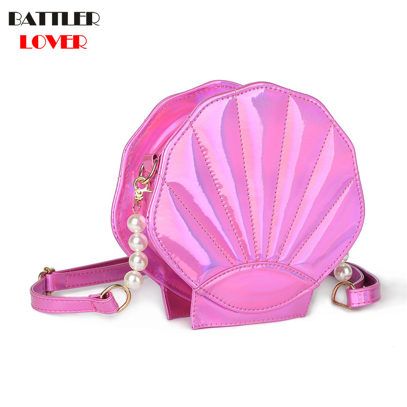 New Cute Beach Bag PU Leather Laser Lolita Mini Crossbody Bags for Women Novetly Handbags Sea Shell Shape Luxury Girl Funny Flap