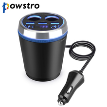 Powstro 2 in 1 3USB Car Quick Charger with Bluetooth FM Transmitter 2 Cigarette Lighter Socket & 3.5A Car Adapter Holder Mount(China)