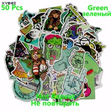 50 PCS Green Stickers Mixed Style Vinyl Skateboard Backpack Table Creative Decor Toy Laptop Luggage Travel DIY Accessories Gifts