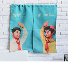 Creative Door Curtains Cute Prints GIMME FIVE Cotton Linen Home Decor Room Divider Bedroom/Kitchen Partition