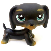 lps Pet shop Rare black blue striped eyes sausage Short Hair dog action figure Collection classic animal pet toys European(China)