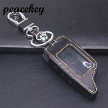 Peacekey Leather remote car key holder case for Russia version two way car alarm system Pandora DXL3000 Lcd keyring holder(China)