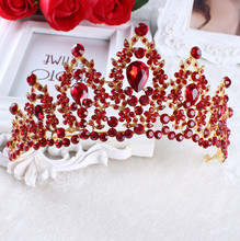 2017 Red White Pageant Wedding Crystal Tiaras And Crowns Bridal Rhinestone Tiaras Crowns Hair Jewelry Women girls Hairband(China)