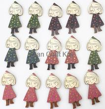 200pcs riding hood counrty girl Wooden pendant wood ornament 45mm wholesale for scrapbook decor,sewing riding hood girl(China)