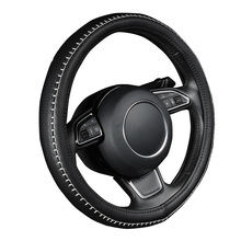 "AUTOYOUTH PU leather steering wheel cover black color with white durable sewing thread M size fits 38cm/15"" diameter(China)"
