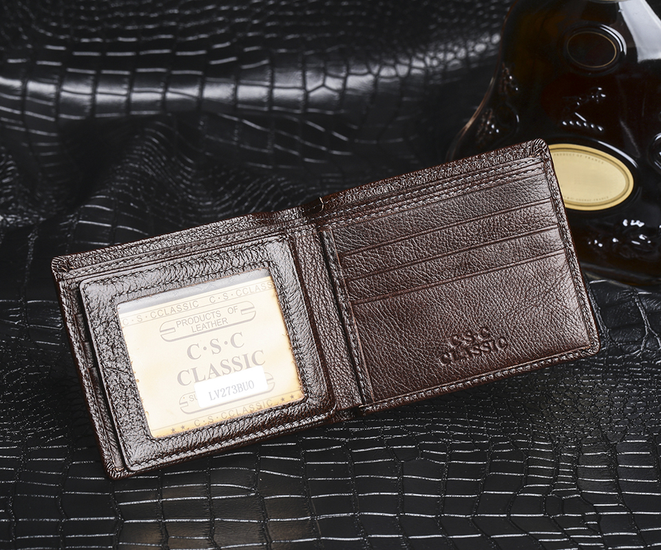 Mens Wallet Brown Coffee Soft Real Cowhide Genuine Leather Bifold Wallet Purse Pouch ID Credit Card Holder Package Carteira<br><br>Aliexpress