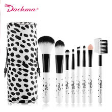 8pcs Travel Makeup Brushes Set Milky Mini Soft Synthetic Hair With PU Leather Cylinder professional brush  For Cosmetic Tool