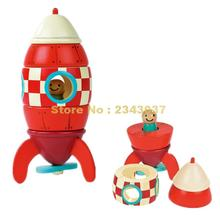 Janod Wooden Rocket Airplane Helicopter Wooden Building Block