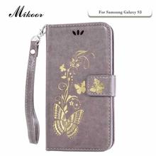 Mikoor Fashion Gold Butterfly Leather 4.8For Samsung Galaxy S3 Case For Samsung Galaxy S3 I9300 Cell Phone Case Cover(China)