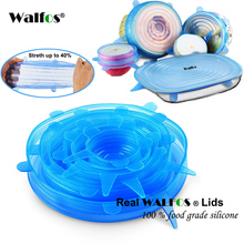WALFOS 100% Food Grade REAL silicon stretch lids universal lid Silicone saran food wrap-bowl pot lid-silicone cover pan Kitchen(China)