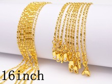16 Inches Free 5PCS  GOLD FILLED Column/ball Necklace Chains Making Jewelry  GOLD FILLED Chains With Lobster Clasps Set