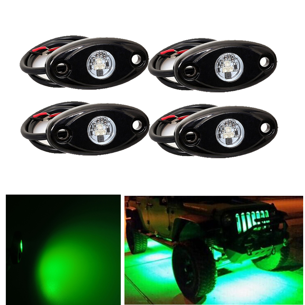 4pcs Green 9W LED Rock Light for JEEP Offroad Truck Under Body Trail Rig Lamp Ground Effect Truck Bed Marine LED Lighting <br>