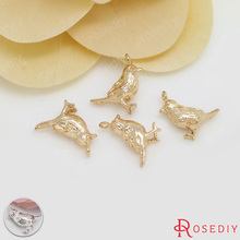6PCS 9x13MM 24K Champagne Gold Color Plated Brass Birds Charms Pendants High Quality Diy Jewelry Accessories