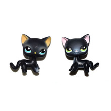 Pet Shop Cyan Eyes & Pink Ear Shor Hair Black Cat Kitty Figure Toy Set(China)